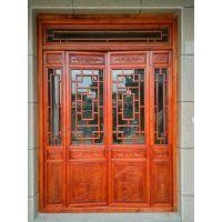西安仿古实木门窗定制、寺庙松木门窗、中式古建木窗定做厂家