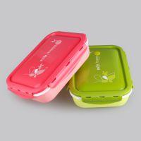 厂家直销400悠悦四格密封微波饭盒 环保卫生塑料饭盒 可微波冷藏饭盒 野外露营便当盒 提供OEM