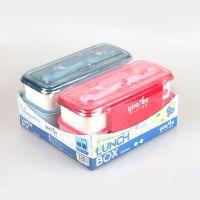 厂家直销364悠悦情侣大号双层便当盒 日本餐盒 学生寿司盒 多格饭盒 可微波冷冻便当盒 提供OEM