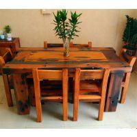 老船木家具批发长方形餐桌茶桌椅组合厚板茶桌