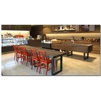 麦德嘉MDJ-TY08D可定制北欧小户型长方形现代简约餐桌椅组合饭桌复古铁艺实木餐桌