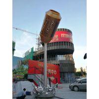 易拉罐水柱雕塑摆件 玻璃钢可乐仿真彩绘 地铁啤酒瓶广告雕塑