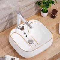 卫生间方形陶瓷金色高档洗手盆洗脸盆艺术盆