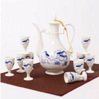 锦尚逸品 正品青花白酒酒具套装 中式仿古龙泉青瓷陶瓷高档酒壶