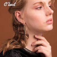 欧美时尚女式金属皮质复合流苏耳坠
