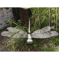 不锈钢蜻蜓放在别墅花园里那叫一个美