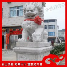 石雕北京狮定制 门口石雕狮子 荔枝面石狮子