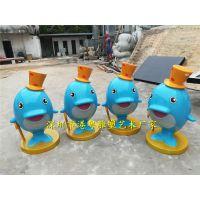港粤直供玻璃钢海豚雕塑 树脂彩绘卡通公仔造型 仿真海豚雕塑