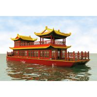 殿宝木船 加工定制 纯手工 双层画舫船 传统仿古做旧木船