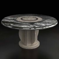 海德利 古典中式 圆形大理石餐桌椅组合带转盘酒店餐桌圆桌实木圆餐桌餐厅