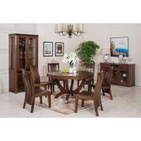 美颐居家具北美黑胡桃木130圆餐台餐椅全纯实木餐台餐椅现代中式餐厅家具厂家批发