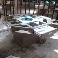 多功能带抽屉餐桌 现代中式自助式铁艺桌子 餐厅酒楼饭店铁制桌椅