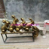 玻璃钢仿真舞蹈兔子模型摆件树脂卡通跳舞兔子雕塑铸铜小兔子互救造型雕像牵手铜兔园林草坪摆件