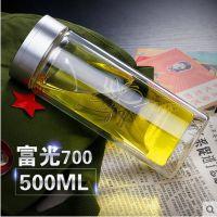 富光双层玻璃杯子滤网500ml透明水杯子带盖男女士茶杯子定制logo