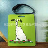 热门硅胶产品行李箱标签牌 绿色卡通地址牌 风景图案硅胶行李牌