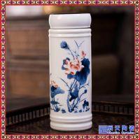 景德镇陶瓷双层保温杯 便携式茶杯带盖青花瓷办公杯