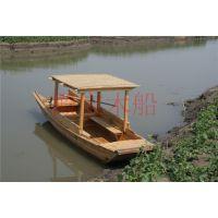 殿宝厂家定制公园游船电动船5米单篷木船小型渔船景区船
