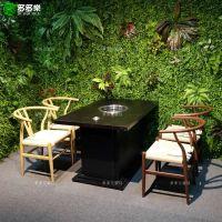 韩国自助餐厅烧烤店餐桌椅家具定做 韩式复古烤肉店桌椅批发