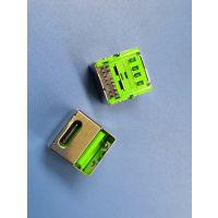 荧光绿 双层二合一母座USB2.0A母+TYPE180度单面插 耐高温 过回流焊