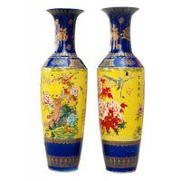 定制欧式客厅落地大花瓶 简约大花瓶 手绘花鸟大花瓶