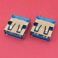 USB AF 3.0母座/L=13.8mm/A母90度四脚插板DIP/9PIN/无卷边/母头