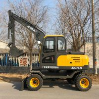 挖地基用的小型轮式挖掘机 环保型轮胎式挖掘机价格