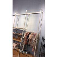 厂家供应H&M服装展示架优等品、时尚白色立柱女装陈列架