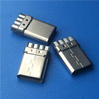 TYPE C USB 3.1 公头 8P 双面焊线 简易型公头 带数据 黑色胶芯