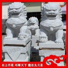 芝麻黑石狮子 寺庙门口镇宅石狮子 惠安石雕厂家