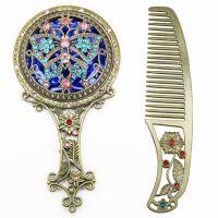 梳子镜子套装复古俄罗斯欧式手柄学生宿舍金属便携随身logo化妆镜