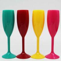 东莞工厂定制实色高脚塑料酒杯PC不碎酒杯高脚酒吧香槟杯赠品杯
