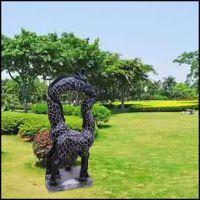 石雕长颈鹿 大理石园林装饰动物摆件曲阳万洋雕刻厂家现货加定做