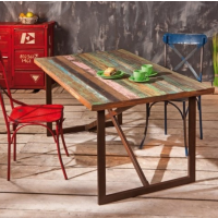倍斯特热销现代中式怀旧工业风餐桌椅创意防火板餐桌厂家定制