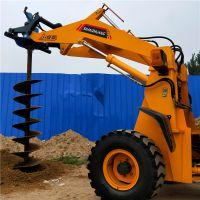 装载机改装挖坑机 水泥杆钻坑机 电线杆钻孔机洪鑫厂家直销