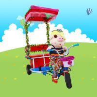 动物拉车机器人蹬车儿童电动三轮车黄包车机器人