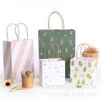 简约清新创意环保礼品手提纸袋 大中小号 高档化妆品广告袋 通用包装 定制