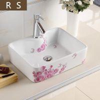 艺术陶瓷方形中式台面单孔彩花洗手盆
