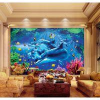 佛山厂家供应海洋世界主题酒店房间背景墙装饰艺术玻璃 新技术3D打印玻璃