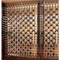 不锈钢304镜面屏风式酒架,简约时尚高端不锈钢恒温酒柜定制,不锈钢酒架定制