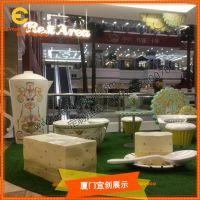 定制 商场美陈 玻璃钢 仿真 茶壶 甜点休息凳 DP装饰橱窗道具
