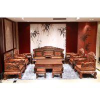 上海精品红木家具价格表老挝大红酸枝交趾黄檀批发百狮沙发13件套
