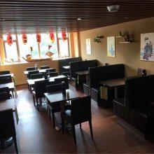 广州寿司店桌椅哪里买便宜?日式料理餐厅沙发桌椅组合