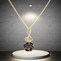 黛雅新款镀金玫瑰花项链黑色神秘款精美手工制作圣诞节礼物厂家直销