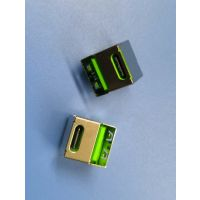 荧光绿双层二合一母座USB2.0A母+TYPE180度单面双面直插 耐高温 过回流焊 PCB-创粤
