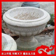 小区花钵雕塑 泉州花岗岩花钵 圆形石制花盆