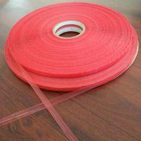 Sunjia工厂供应脐橙/椪柑包装袋自粘胶,10/3mm易撕红膜封缄胶带