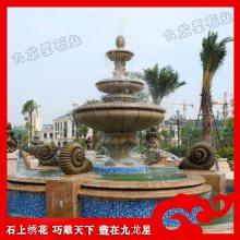 欧式庭院装饰喷泉 埃及米黄石材水钵喷泉 西方人物石材水钵