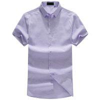 忆惜格罗 男式短袖衬衫 男夏季新款中年男士暗纹全棉商务正装短袖衬衣薄款翻领透气衬衣
