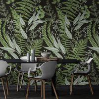 东南亚热带雨林植物墙纸绿色叶子客厅电视背景墙壁画卧室大型壁纸