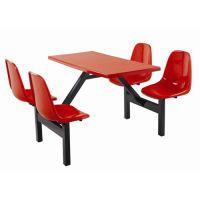 惠州食堂桌椅,简约现代玻璃钢连体食堂桌椅家具定制厂